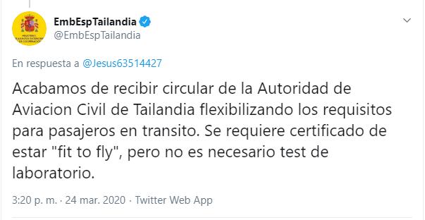 Tweet Embajada de España en Tailandia